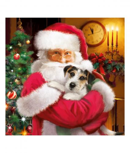 santa and chip cancer research uk christmas card