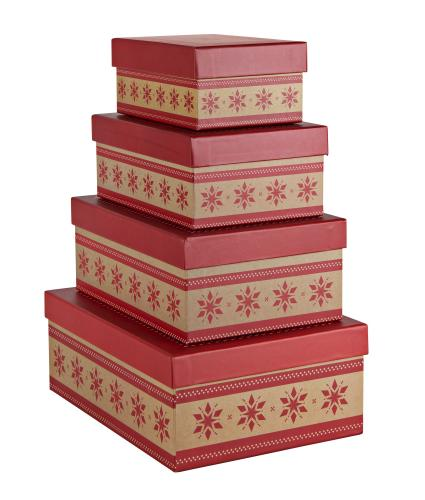 Nest of 4 Snowflake Gift Boxes