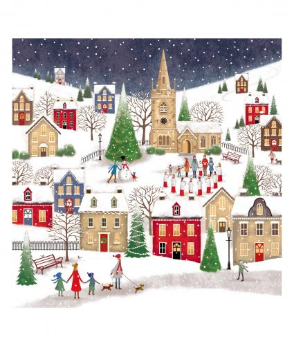 village at christmas bi-lingual cancer research uk christmas card