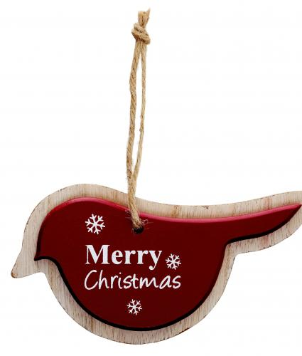 Wooden Bird Red Cancer Research uk Christmas Card