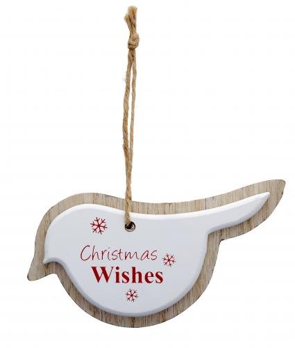 Wooden Bird White Cancer Research uk Christmas Gift