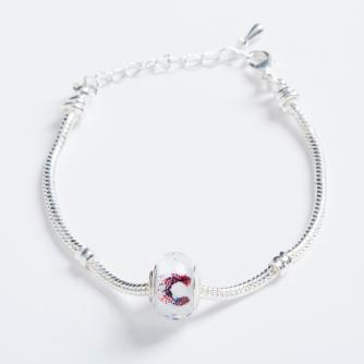 Silver Bracelet with Cancer Research UK Bead