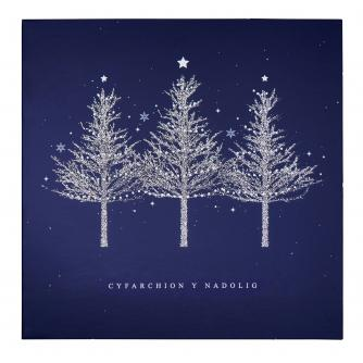 Blue Trio of Sparkly Trees Welsh Christmas Card - Pack of 20