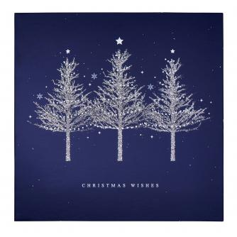 Blue Trio of Sparkly Trees Christmas Card - Pack of 20