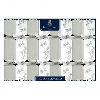 Tom Smith 8 Silver & White Luxury Christmas Crackers