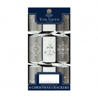 Tom Smith 6 Silver & White Dinner Cube Christmas Crackers