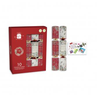 Traditional Foliage 10 Christmas Crackers