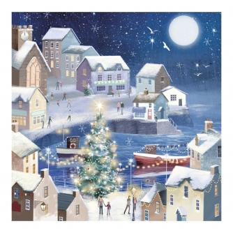 Winter Seaside Welsh Bilingual Christmas Cards - Pack of 10 / Glan y Môr yn y Gaeaf Cardiau Nadolig Dwyiethog - Pecyn o 10