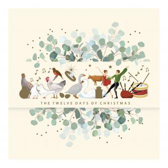 Festive Twelve Days Christmas Cards - Pack of 20