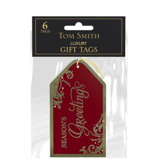 Red and Gold Gift Tags, Pack of 6
