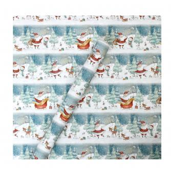 Tom Smith Blue Santa & Friends Festive Wishes Wrapping Paper