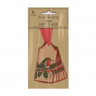 Tom Smith 6 Winter Robin Gift Tags