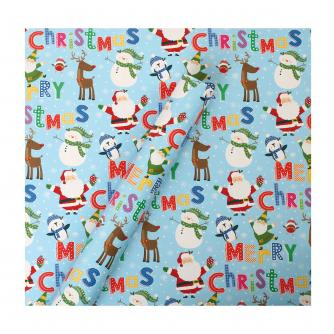 Tom Smith Blue Santa & Friends Wrapping Paper