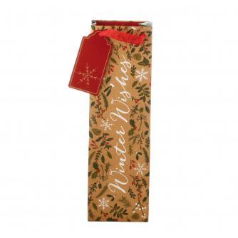 Festive Winter Wishes Bottle Gift Bag