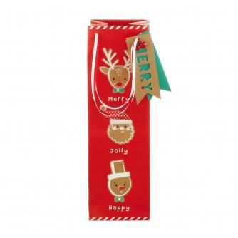 Festive Reindeer Christmas Bottle Gift Bag