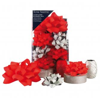 Tom Smith Jumbo Glitter Silver & Red Accessory Pack