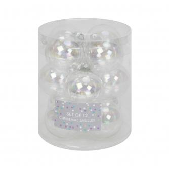 Irridescent Silver Glass Baubles, Set of 12