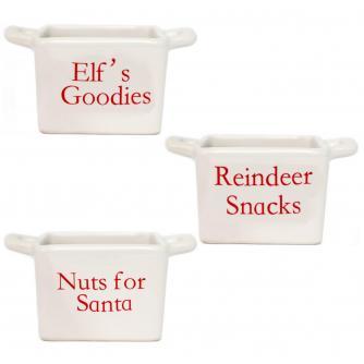 White Santa Snack Bowl Set