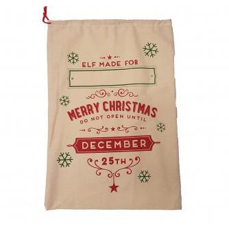 Customisable Hessian Elf Made Christmas Sack