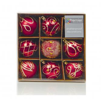 Red & Gold Patterned Baubles