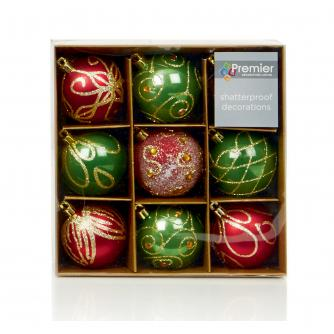 Red & Green Patterned Baubles