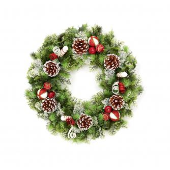 Red & White Frosted Festive Wreath