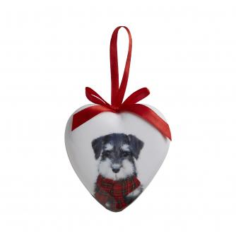 Winter Dog Heart Bauble