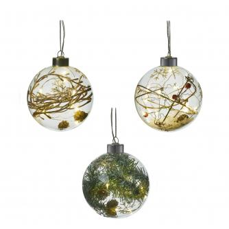 Rustic Filled LED Lit Glass Baubles