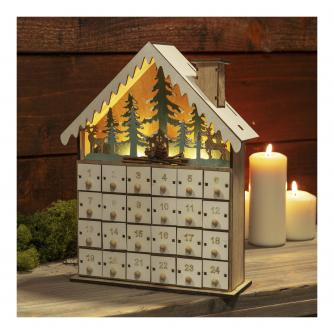 Christmas Cottage Wooden LED Advent Calendar