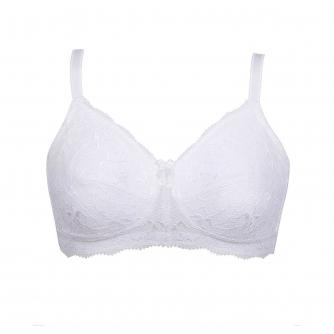 Nicola Jane Florence Pocketed Soft Lace Bra in White