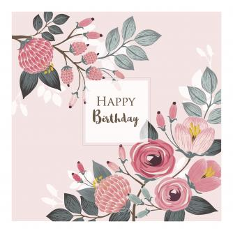 Pink Illustrative Floral Birthday Card