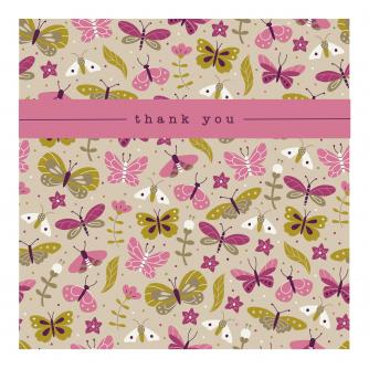 Butterflies and Florals Thank You Greetings Card