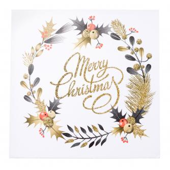 Gold Glitter Festive Wreath Christmas Cards - Pack of 20