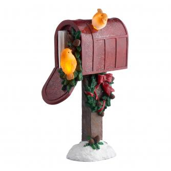 LED Winter Robin Post Box