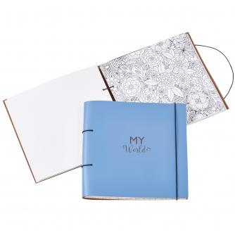 Recycled Leather Planner and Scrapbook in Sky Blue