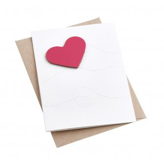 Artbox Recycled Leather Heart Magnet Card in Pink
