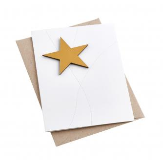 Recycled Leather Star Magnet Card in Gold