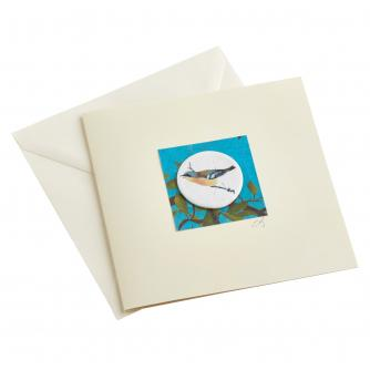 CB Ceramics Blue Tit Button Greetings Card