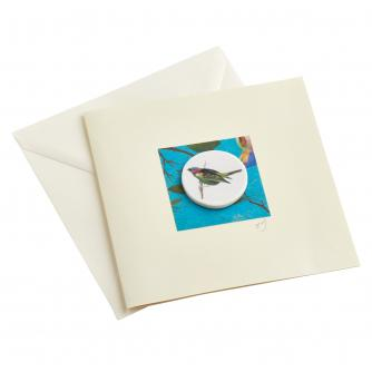 CB Ceramics Parrot Finch Button Greetings Card