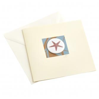 CB Ceramics Orange Starfish Button Greetings Card