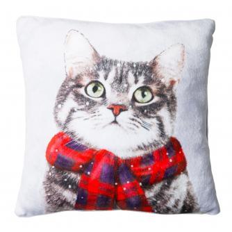 Large Winter Cat Cushion