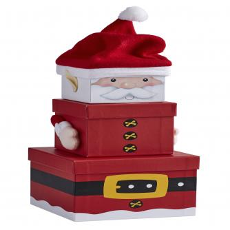 Nested Christmas Gift Boxes - Santa