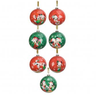 Disney® Mickey & Minnie Mouse Christmas Baubles - Set of 7