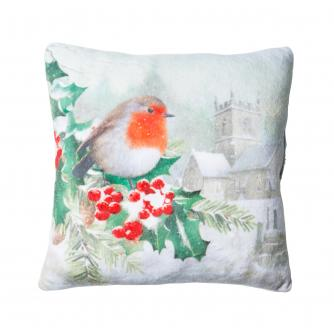 Small Winter Robin Cushion