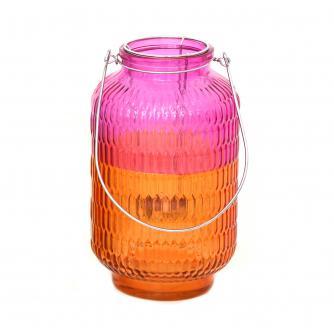 Two Tone Pink Glass Lantern
