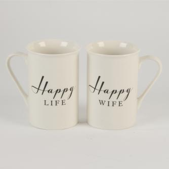 Happy Life and Happy Wife Mugs, Wedding Gifts, Cancer Research UK