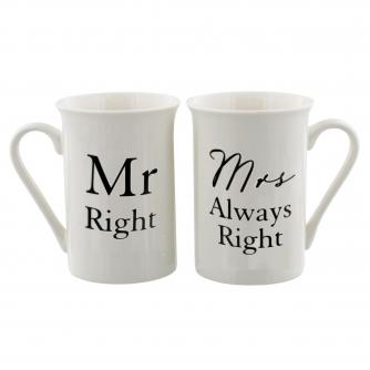 Mr Right and Mrs Always Right Mugs, Wedding Gifts, Cancer Research UK