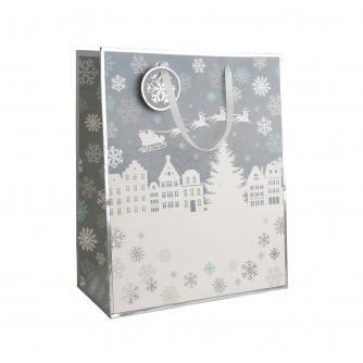 White & Silver Snowy Scene Gift Bag