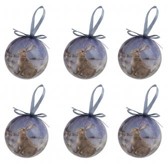 Winter Hare Baubles - set of 6