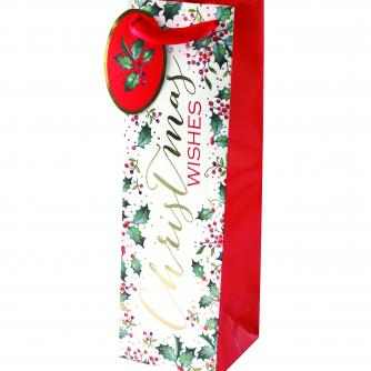 festive foliage holly bottle bag cancer research uk christmas bag